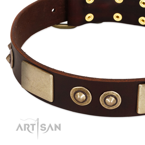 Strong traditional buckle on genuine leather dog collar for your doggie