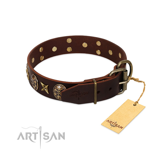 Corrosion resistant decorations on full grain leather dog collar for your doggie