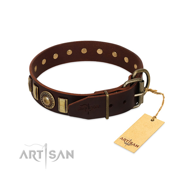 Top quality full grain natural leather dog collar with strong buckle