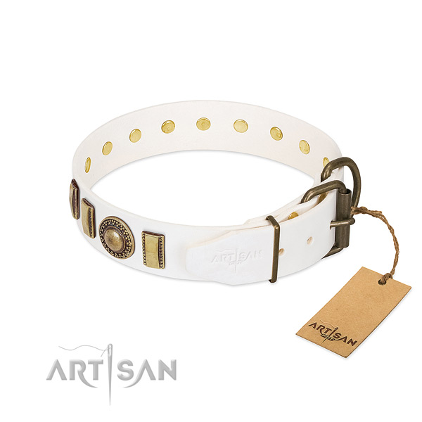 Fine quality leather dog collar with strong D-ring