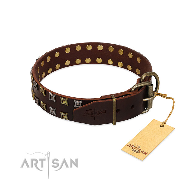 Soft full grain genuine leather dog collar handmade for your canine