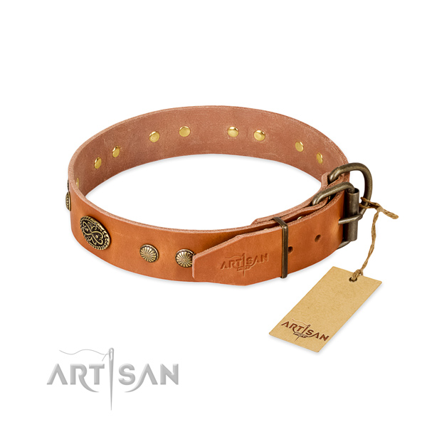 Rust-proof decorations on full grain natural leather dog collar for your four-legged friend