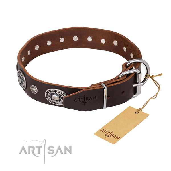 Reliable natural genuine leather dog collar handcrafted for basic training