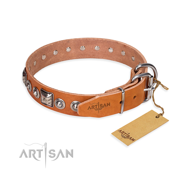 Strong full grain leather dog collar created for daily walking