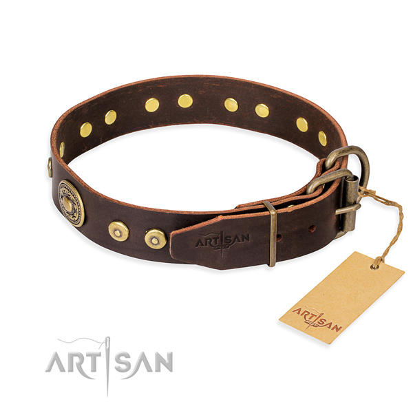 Natural genuine leather dog collar made of top rate material with corrosion proof decorations