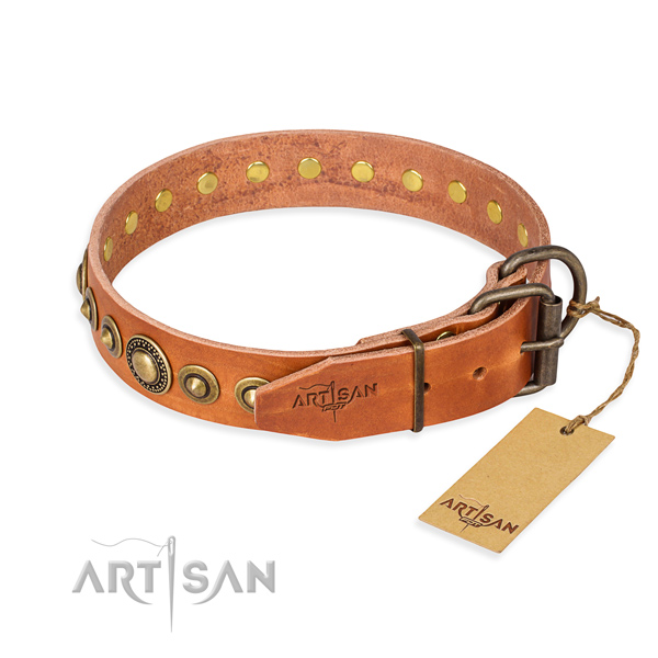 High quality natural genuine leather dog collar crafted for comfy wearing