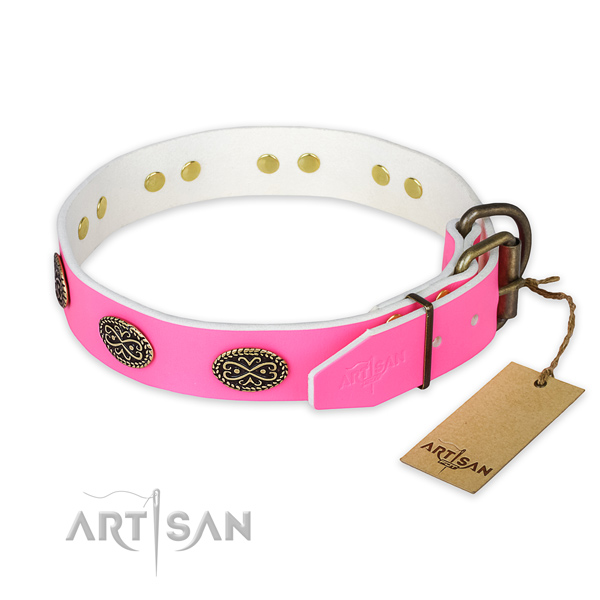 Handy use full grain leather collar with embellishments for your dog