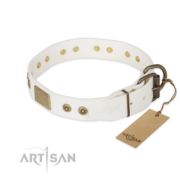 Full grain natural leather dog collar with corrosion proof D-ring and decorations