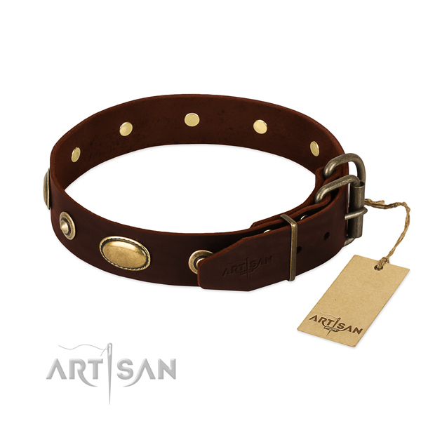 Corrosion proof fittings on full grain leather dog collar for your pet