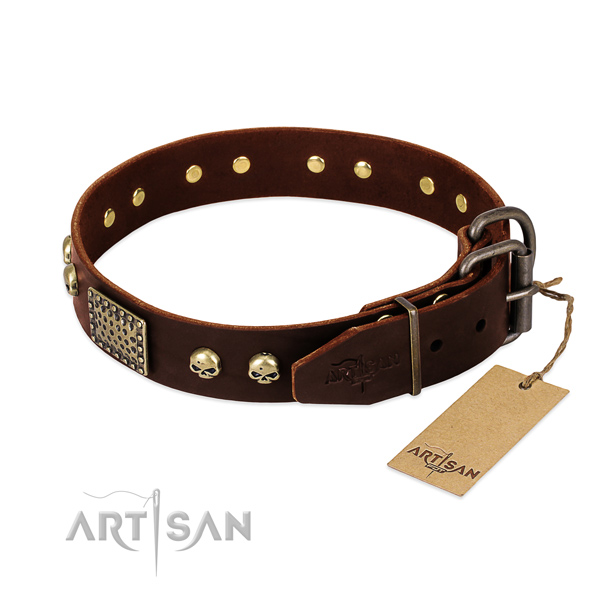 Rust resistant studs on easy wearing dog collar