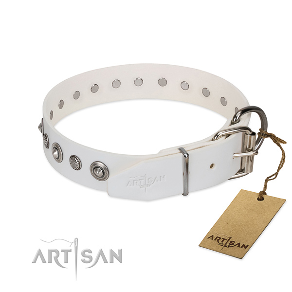 Fine quality full grain leather dog collar with unusual decorations