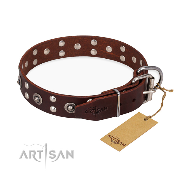 Strong D-ring on genuine leather collar for your handsome pet