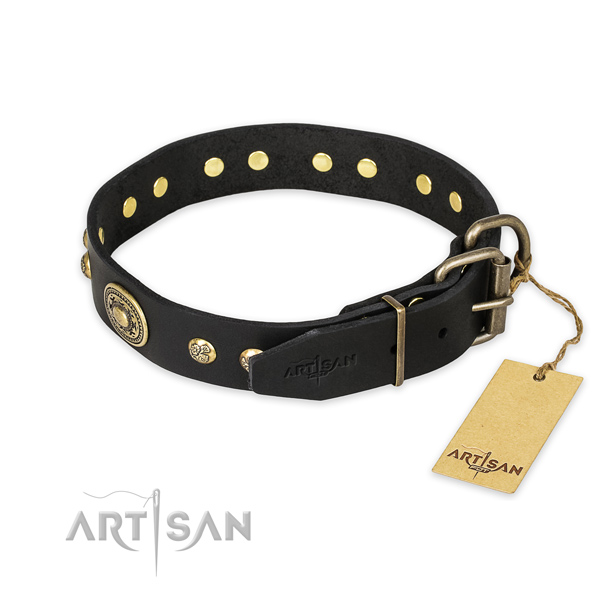 Strong fittings on genuine leather collar for basic training your four-legged friend