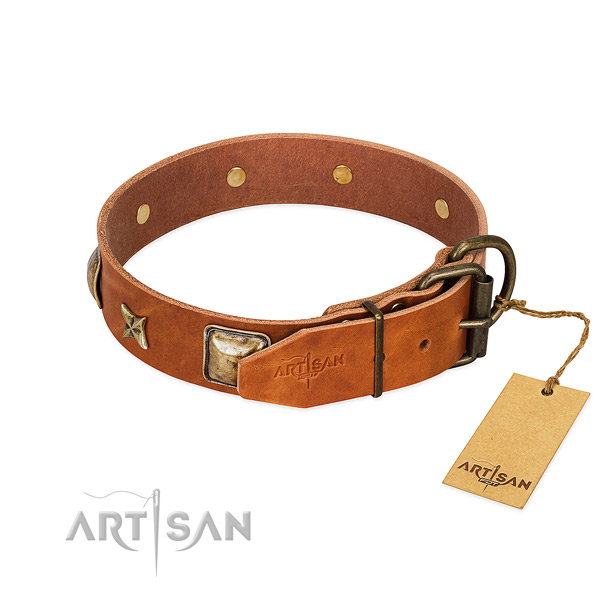 Genuine leather dog collar with durable traditional buckle and decorations