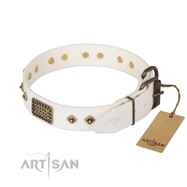 Full grain leather dog collar with corrosion proof traditional buckle and decorations
