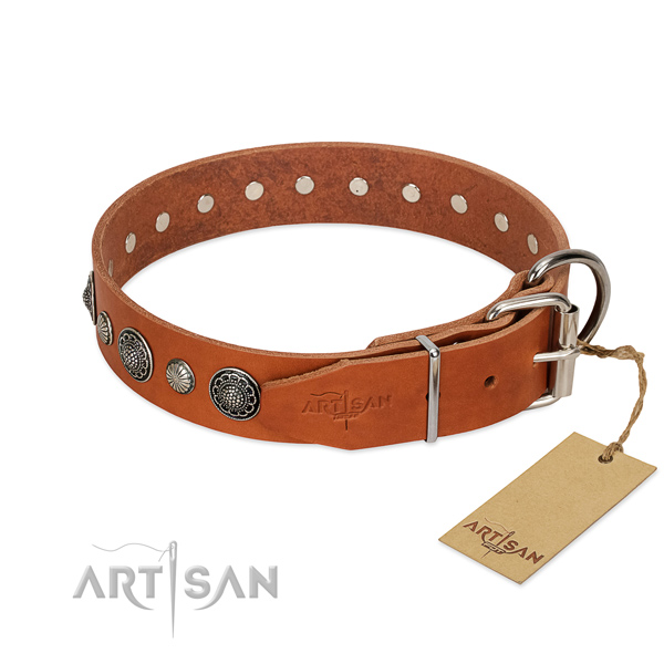 Soft to touch natural leather dog collar with corrosion resistant buckle