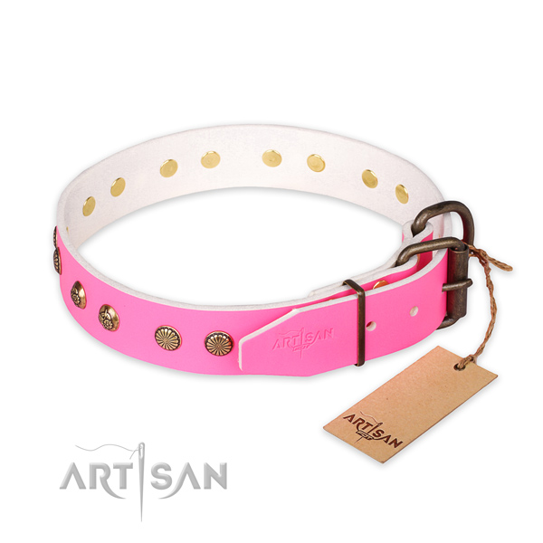 Rust-proof traditional buckle on full grain natural leather collar for your beautiful four-legged friend