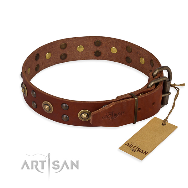 Durable hardware on genuine leather collar for your lovely four-legged friend