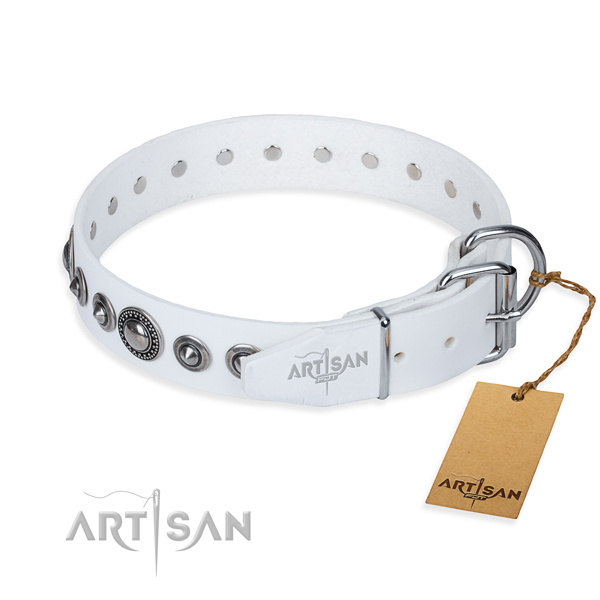 Full grain genuine leather dog collar made of soft to touch material with corrosion proof decorations