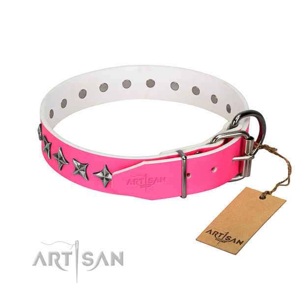 Finest quality full grain leather dog collar with remarkable decorations