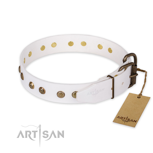 Strong D-ring on natural genuine leather collar for your beautiful canine