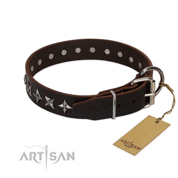 Handy use studded dog collar of durable full grain genuine leather