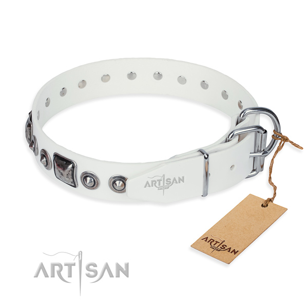 Top rate full grain natural leather dog collar created for fancy walking