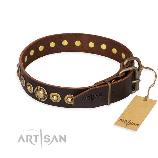 Soft full grain leather dog collar handcrafted for basic training