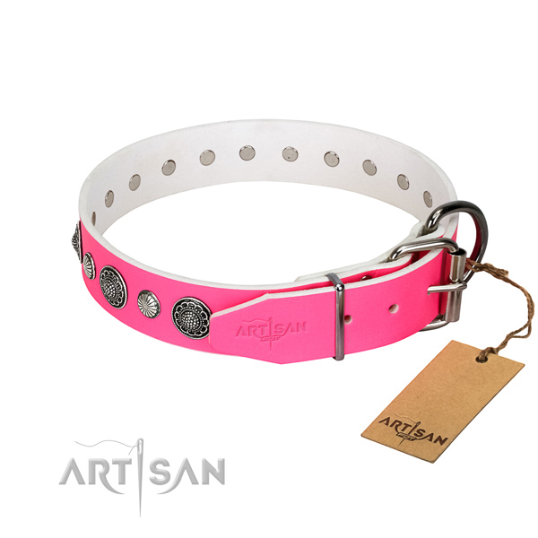Durable natural leather dog collar with corrosion proof buckle