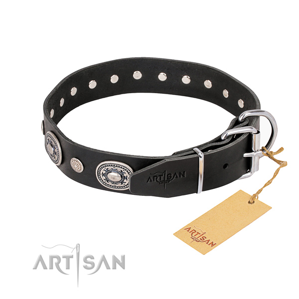 Best quality natural genuine leather dog collar crafted for comfortable wearing