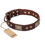 """Loving Owner"" FDT Artisan Decorated Leather German Shepherd Collar with Plates and Studs"