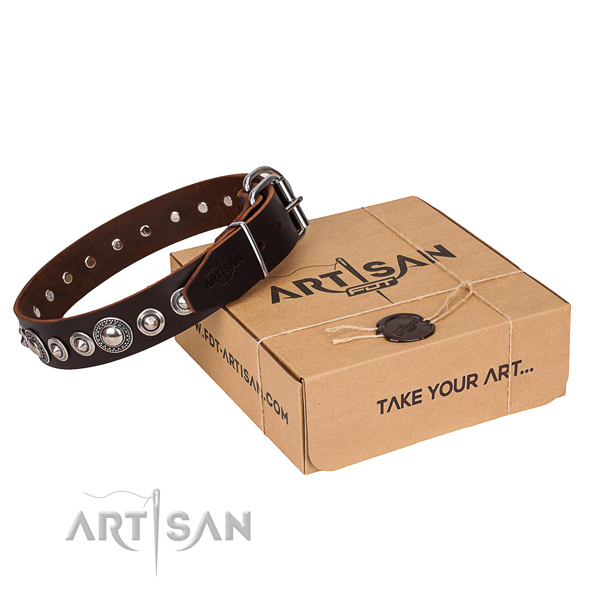 Natural genuine leather dog collar made of best quality material with rust resistant buckle