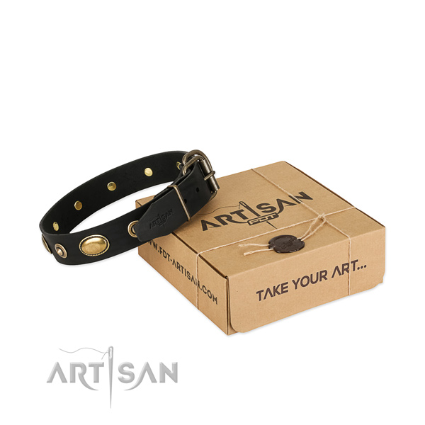 Rust-proof hardware on full grain genuine leather dog collar for your doggie