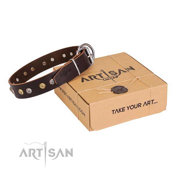 Gentle to touch natural genuine leather dog collar crafted for daily use