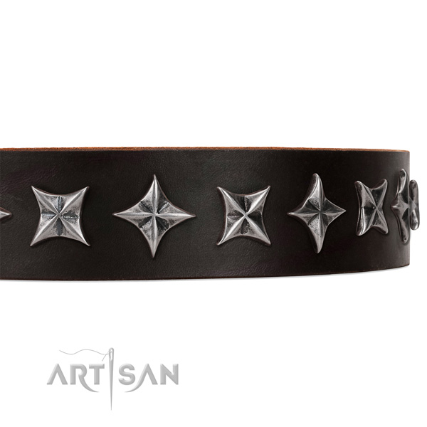 Stylish walking decorated dog collar of finest quality leather