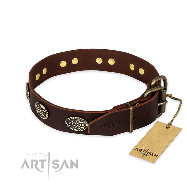 Rust-proof traditional buckle on genuine leather collar for your beautiful pet