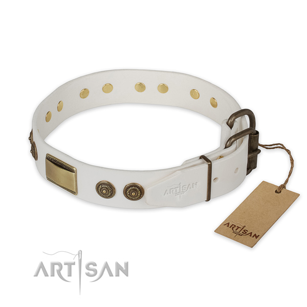 Reliable hardware on full grain leather collar for walking your dog