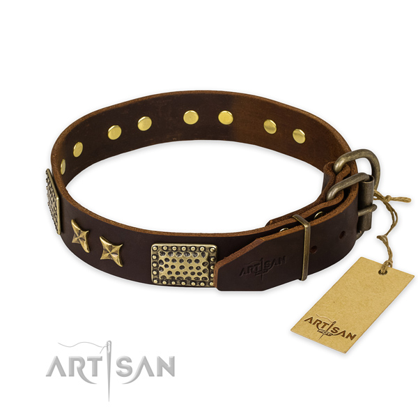 Durable hardware on full grain natural leather collar for your handsome doggie