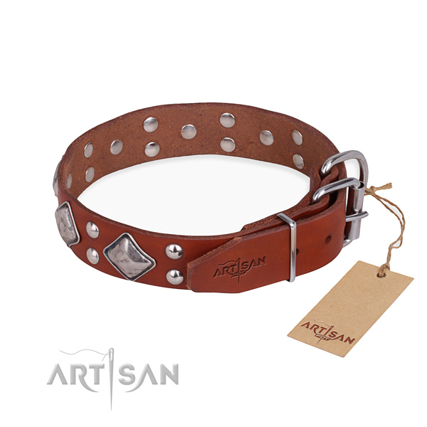 Genuine leather dog collar with top notch rust-proof decorations