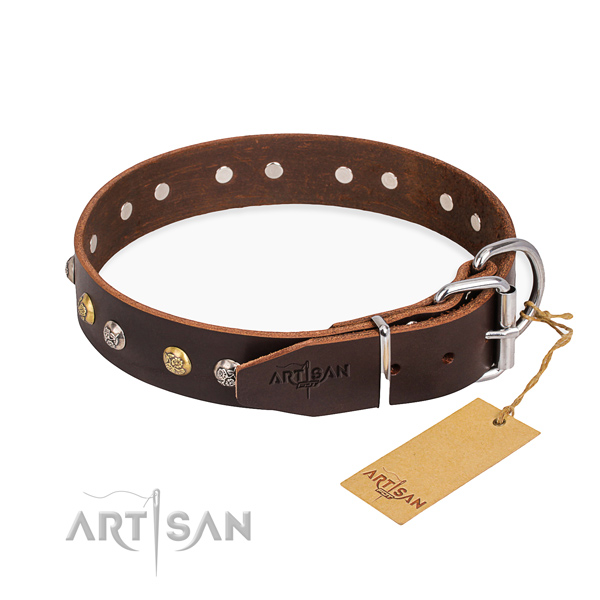 Reliable genuine leather dog collar handcrafted for stylish walking