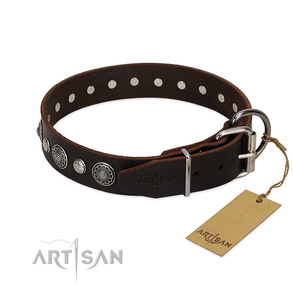 Best quality full grain natural leather dog collar with unusual studs