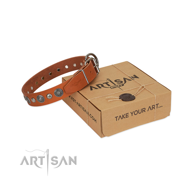 Reliable full grain natural leather dog collar with amazing studs