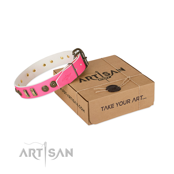 Durable buckle on full grain genuine leather dog collar for your doggie