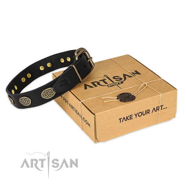Corrosion resistant fittings on full grain natural leather collar for your beautiful doggie