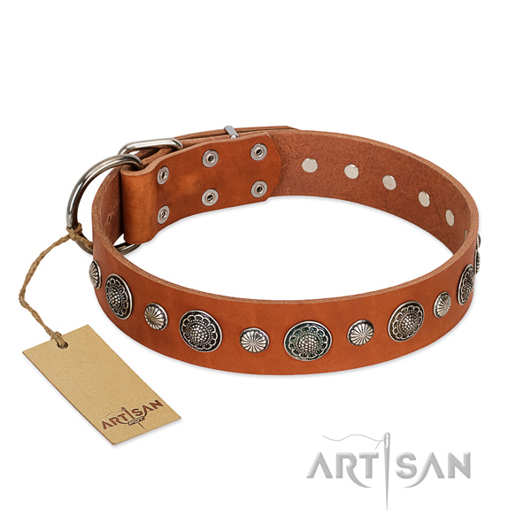 High quality full grain genuine leather dog collar with corrosion proof D-ring
