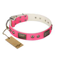 """Fashion Skulls"" FDT Artisan Pink Leather German Shepherd Collar with Old Silver Look Plates and Skulls"