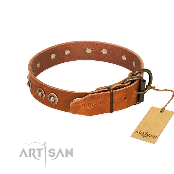 Strong fittings on leather dog collar for your pet