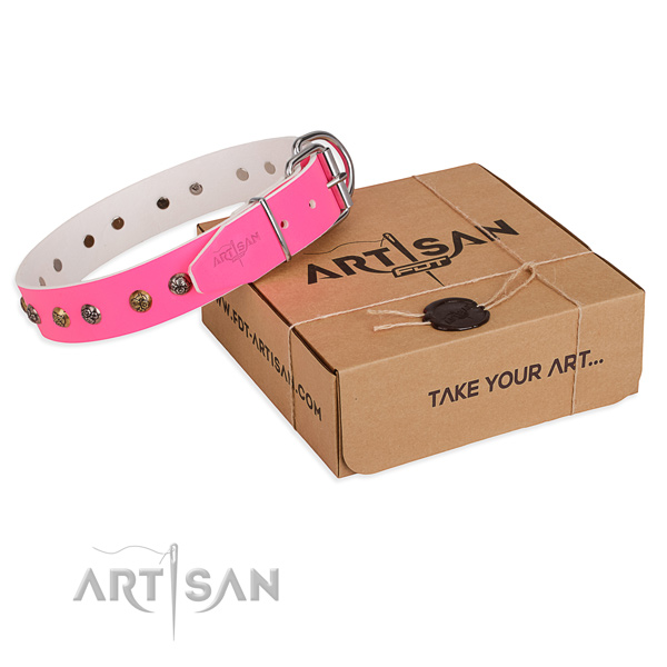 Easy wearing dog collar with Extraordinary corrosion proof embellishments