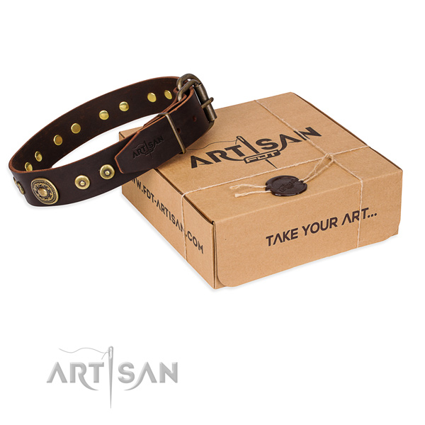 Full grain genuine leather dog collar made of best quality material with rust resistant hardware