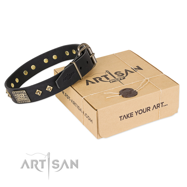 Decorated full grain leather collar for your attractive doggie